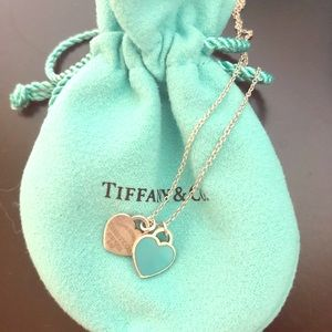 Tiffany & CO Double Heart Tag Necklace